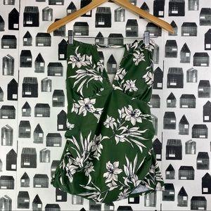 Kona Sol | NWT Green & White Floral Print Swim Top